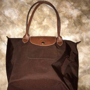Longchamp brown nylon tote bag